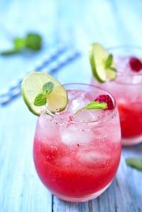 Raspberry lemonade with lime.
